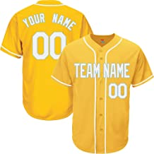 Yellow Custom Baseball Jersey for Men Women Youth Button Down Embroidered Team Player Name & Numbers S-5XL Black