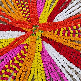 Wholesale Lot Indian Flower Strings Torans Flower Garland Lines Marigold Mango Flower Strings Artificial Blossom Indian Wedding Party Decorative Flowers (5)