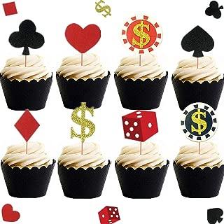 Set of 32 Casino Cupcake toppers Poker Cupcake Toppers Vegas Theme Cupcake Toppers Gambling Cupcake Toppers Casino party decorations Vegas theme party Gambling party decorations Poker night decorations