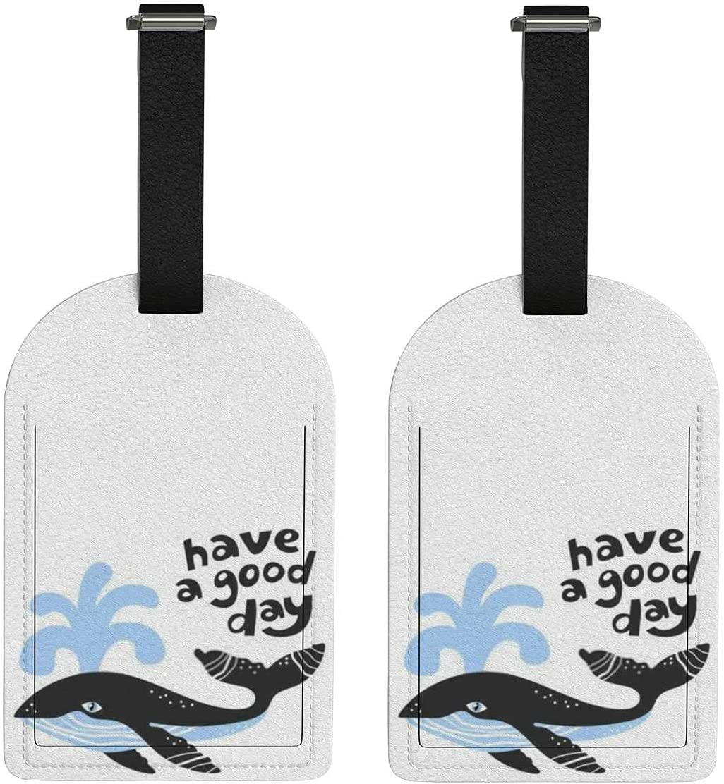 Set of Challenge the lowest price 2 Luggage Tag with Full day good Have whale 2021 Privac a Back