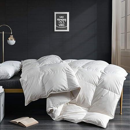 APSMILE Goose Down Comforter Duvet King Size, All Seasons Down Duvet -100% Organic Cotton, Luxurious 750 Fill-Power 50oz Medium Warm Hotel Comforter Insert, 106x90, Ivory White