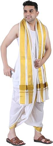 Men s Panjakejam Ready to wear dhoti towel set with pocket free size