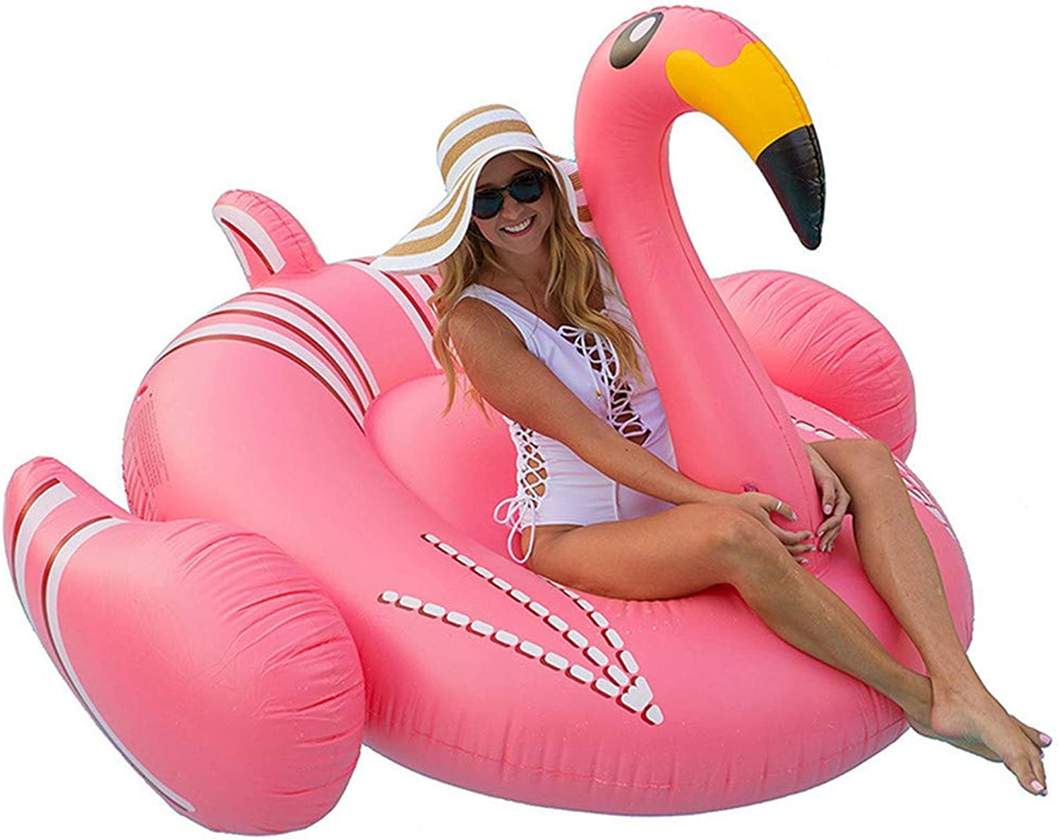 W.WMVN Inflatable floating bed, pontoon float, swim ring, flamingo mount floating beach vacation photo props floating row
