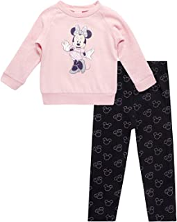 Disney Baby Girls' Minnie Mouse Fleece Leggings Set - Long Sleeve T-Shirt and Lightweight Sweatpants Set