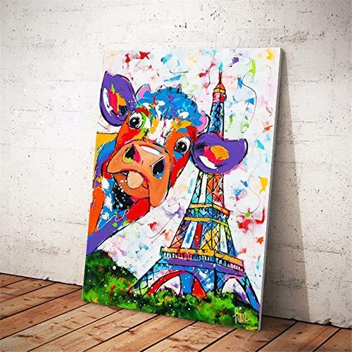 Puzzle 1000 piezas Pintura abstracta del arte de la torre eiffel de la vaca de la acuarela puzzle 1000 piezas clementoni Juego de habilidad para toda la familia, colorido jueg50x75cm(20x30inch)