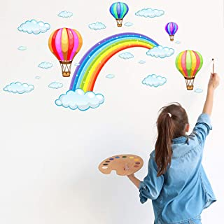 Wall Stickers Wall Decor Decal Art Murals Rainbow Balloons Removable PVC DIY Wall Decoration Paper Poster for Home Bedroom Kitchen Living Room Nursery Rooms Offices