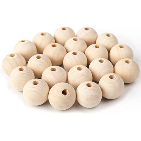 1 Inch x 3//8 Inch Hole Pack of 100 Unfinished Wooden Bead Supplies Easily Threads Wooden Beads Smooth Natural Finish Paint and Stain by Woodpeckers 25mm