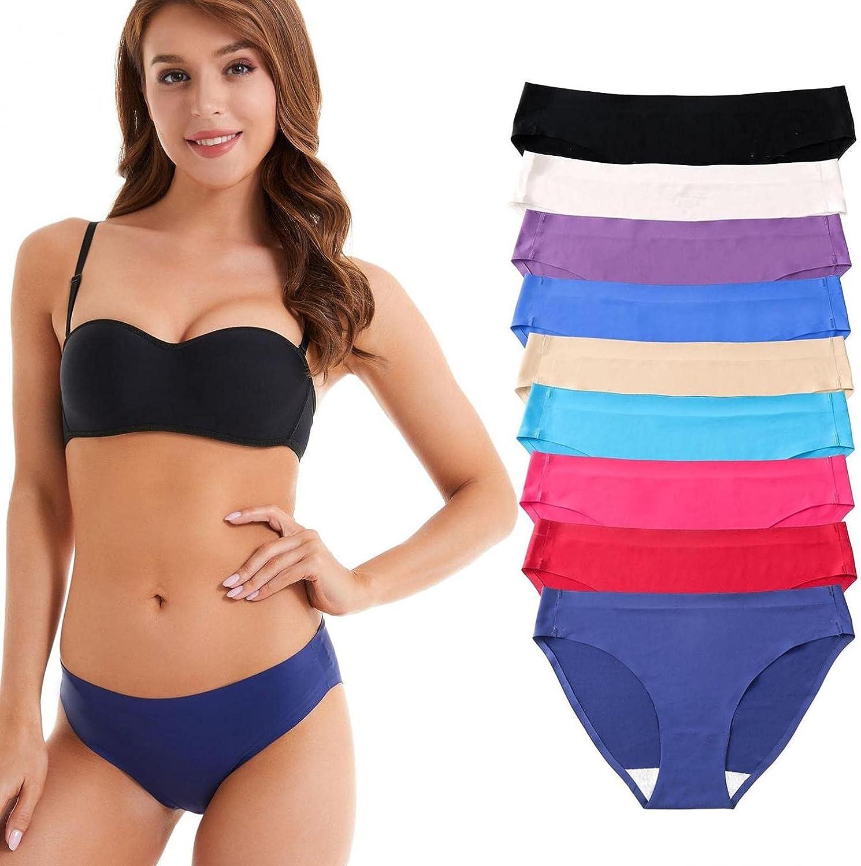 Women's Breathable Underwear Stretch Bikini Panties Low Waist Seamless Hipster Panty Multipack