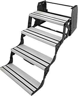 Lippert Components 432698 Alumi-Tread Manual RV Step with Anti-Slip Grip and Easy Extension and Retraction – Quad