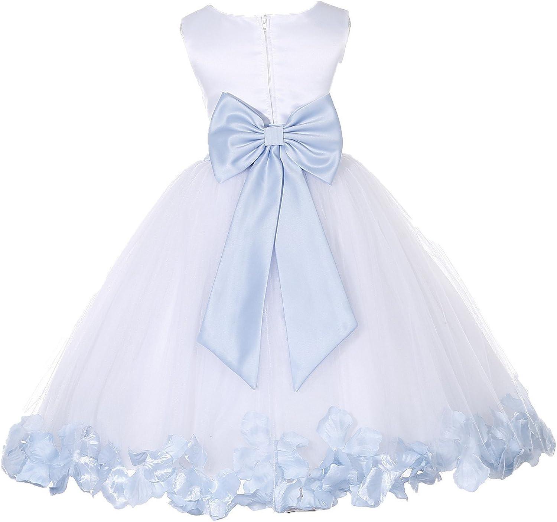 ekidsbridal Wedding Pageant Flower Petals Girl White Dress with Bow Tie Sash 302a