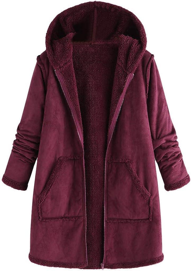 F_Gotal Womens Plus Size Long Sleeve Fuzzy Fleece Winter Plush Zipper Hooded Cardigans Jacket Coats Outwear with Pocket