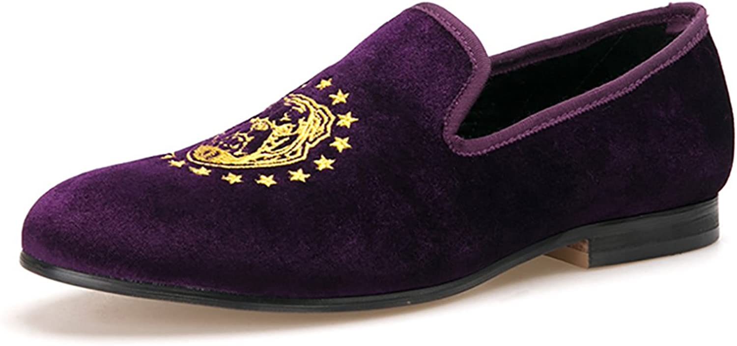 HI&HANN Purple color Velvet Men Loafers with Delicate Embroidery shoes Slip-on Loafer Round Toes Smoking Slipper
