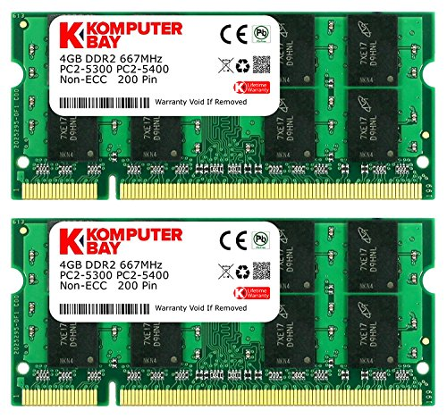 Komputerbay 8GB 2x 4GB DDR2667MHz PC253005400SODIMM CL5200PIN 1.8V per portatile HP
