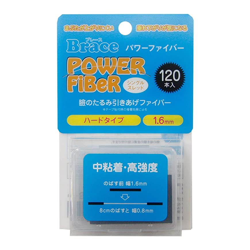 ブリリアントマーキング適度なBrace パワーファイバー 眼瞼下垂防止テープ ハードタイプ シングルスレッド 透明1.6mm幅 120本入り