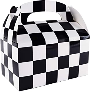 12 Pack Black and White Checker Racing Flag Pennant Treat Gift Paper Cardboard Boxes with Handles for Crafts Candy Goodie Bags, Picnic Snacks, Birthday Party Favors (6.25