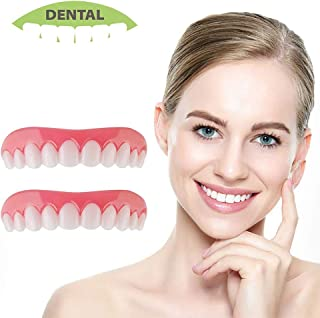 Cosmetic Teeth Perfect Smile Veneers 2 Pack Comfort Fit Flex Fake Denture Instant Snap on Temporary Silicone Dentures Cover for Missing Tooth Top and Bottom