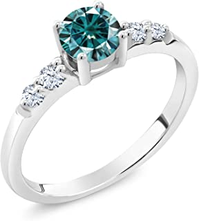 Gem Stone King 925 Sterling Silver Solitaire w/Accent Stones Engagement Ring Round Blue Created Moissanite and Created Sapphire White 0.50ct (DEW)
