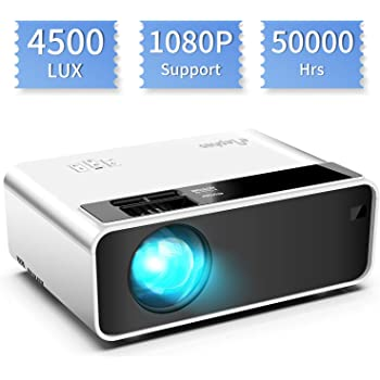 WayGoal Portable Projector Dolby Stereo Sound and Full HD 1080P Support 4800 Lumens and 50000 Hours Lamp Life 200Display Video Projector Compatible with USB//HD//TF//AV//VGA for Home Theater