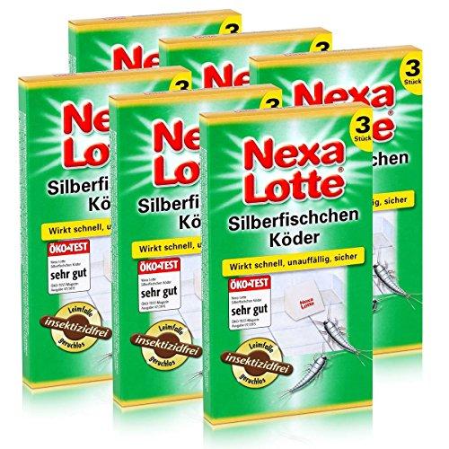 6 x 3 (18 Stk.) Nexa Lotte Silberfischchen-Köder Leim-Falle hochwirksam