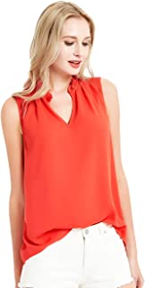 Summer Sleeveless Tank Tops for Women Chiffon Ruffled V Neck Blouse Shirt