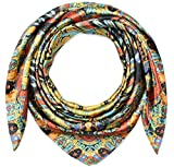 Corciova 35' Large Women's Satin Square Silk Feeling Hair Scarf Wrap Headscarf 35' x 35' Golden Totems Pattern