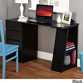 TMS Modern Writing Computer Desk. Blend Modern Design and Function. Includes Shelves and Drawers for Storage. Perfect Office, Dorm Room, or Appartment Furniture (Black)