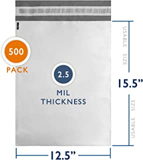 """500 Pcs 12"""" x 15.5"""" Poly Mailers Shipping Envelopes Bags Waterproof Self Sealing Extremely Strong 2.5 Mil Thick, White"""