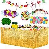 Yojoloin 98 Pcs Hawaiano Luau Falda de mesa Set de decoración,de fiesta tropical de 9.6FT con hojas de palma Flores hawaianas Paraguas decoraciones de mesa de fiesta Tiki de verano