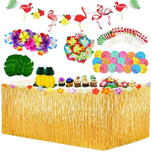 Yojoloin 128 Pezzi Gonna Tavolo Hawaiana Tovaglia da Tavolo Set,Foglie di Palma Fiori hawaiani Cake Topper,ghirlande Luau Banner per Il Partito Luau Hawaiano Decorazioni da tavola