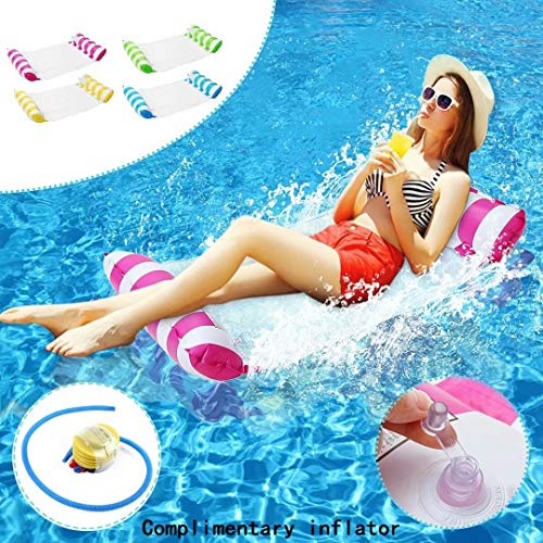 Swimming Pool Beach Floating Water Hammock,4-in-1 Multi-Purpose Hammock Saddle,Chair,Hammock,Drifter Swimming Pool Hammock for Adults and Kids-Pink