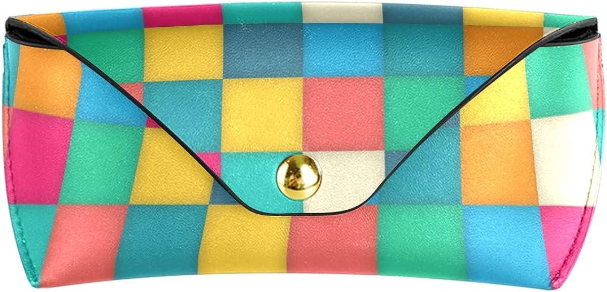 Sunglasses Case Eyeglasses Pouch Goggles Bag Multiuse PU Leather Rainbow Cube present Portable