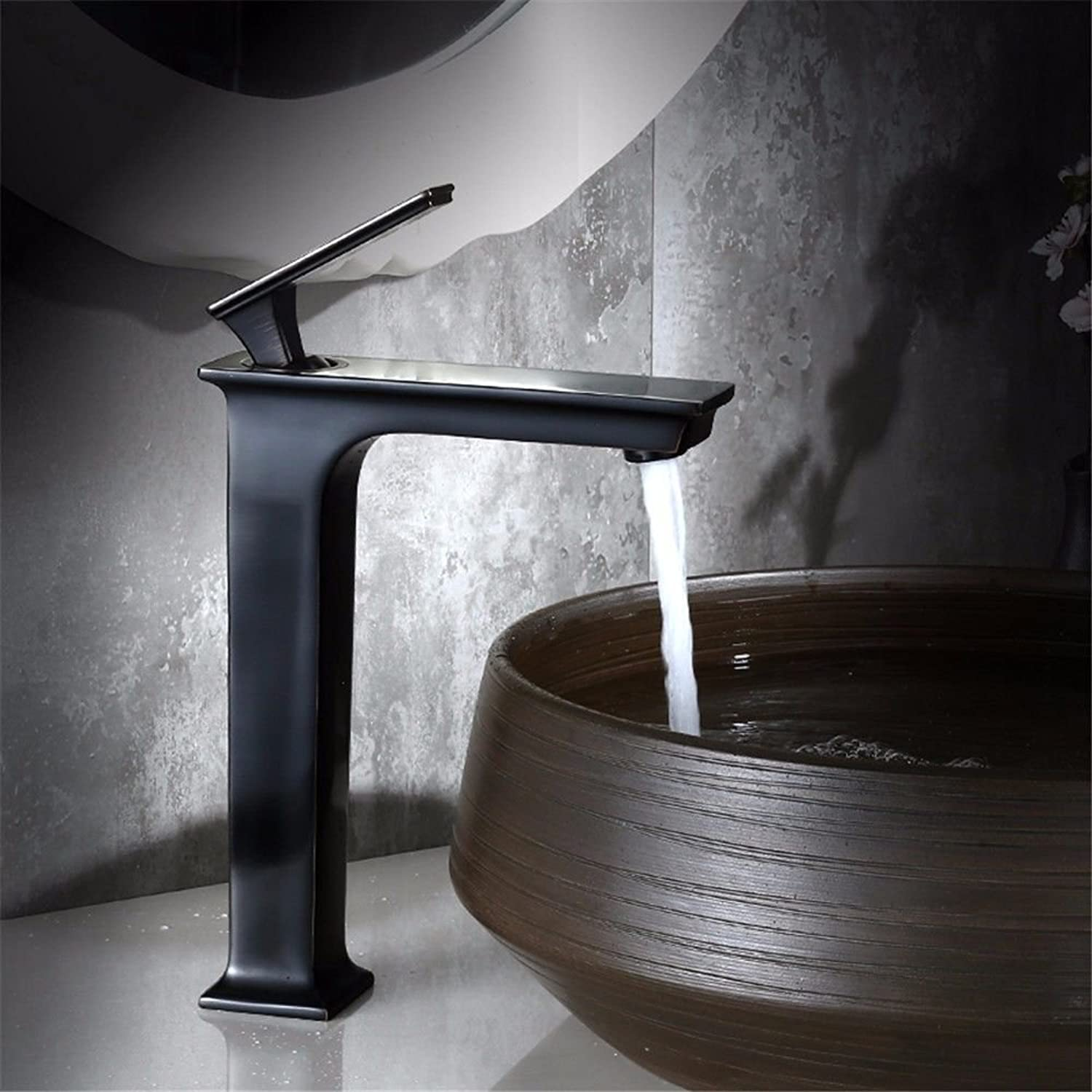 Lpophy Bathroom Sink Mixer Taps Faucet Bath Waterfall Cold and Hot Water Tap for Washroom Bathroom and Kitchen Black Hot and Cold Copper