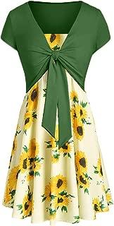 Women Skirt Casual Summer Cami Flower Dress with Crop T-Shirt Slim Fit Waist with Loose Fit Hem
