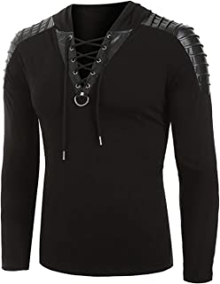 KEEPWO Men Retro Medieval Tunic V-Neck Shirt Long Sleeve Pirate Lace Up Shirt Costume Shirt Plus Size