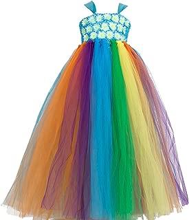 Valecos New Flower Girl Rainbow Tulle Dress Skirt Frilly Flower Dance Tutu Prom Robe Ball Gown Long