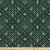 Ambesonne Fleur De Lis Fabric by The Yard, Baroque Pattern Medieval French Motifs Royal Ornate Classic, Decorative Fabric for Upholstery and Home Accents, 3 Yards, Dark Green