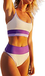 Traje De Baño para Mujer Color Block Push Up Bañador de Cintura Alta a Rayas con Control de Abdomen Conjuntos de Bikini de...