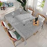 ZYT Waschbar, schmutzabweisend, pflegeleicht, hochwertig,Geometrische quadratische Tischdecke aus Baumwolle und Leinen, wasserdicht und ölbeständig, waschbar, grau, Dreieck 140 * 250 cm