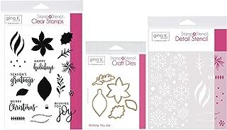 Gina K Stamp n Stencil - Wishing You Joy - Stamps, Dies, Stencil & Storage Pocket
