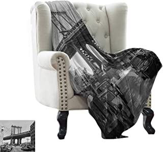 LsWOW Chunky Knit Blanket Landscape,Brooklyn New York USA Landmark Bridge Street with Cars Photo,Black White and Charcoal Grey Reversible Soft Fabric for Couch Sofa Easy Care 30
