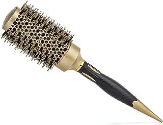 Xcellent Global Round Sleek Styling Brush Natural Boar Bristles Mixed with Nylon Bristles for Blow Drying Volume Optimum Shine Detangling Smoothing Curling Brush Nano Technology Ceramic + Ionic (43mm)
