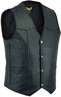 Leatherick Men's Real Leather Waistcoat Vest Black - Biker Style Casual Fashion