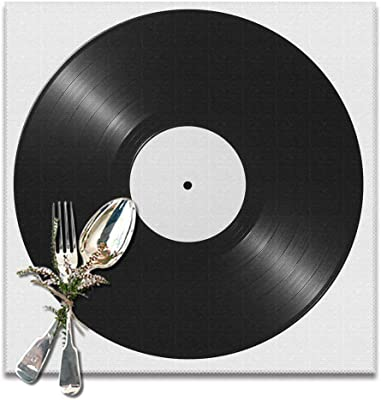 ArtSocket Placemats for Dining Table Black Vinyl Record Album Disk Resistant Anti-Skid Washable Place mats Set of 6