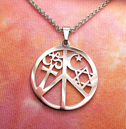 Pendant Charm - Coexist in Peace Om Cross Crescent Moon Star of David Stainless - Original Design - Fashion Jewelry - Ideal Gift for Birthday Valentine Christmas- with Chain 20