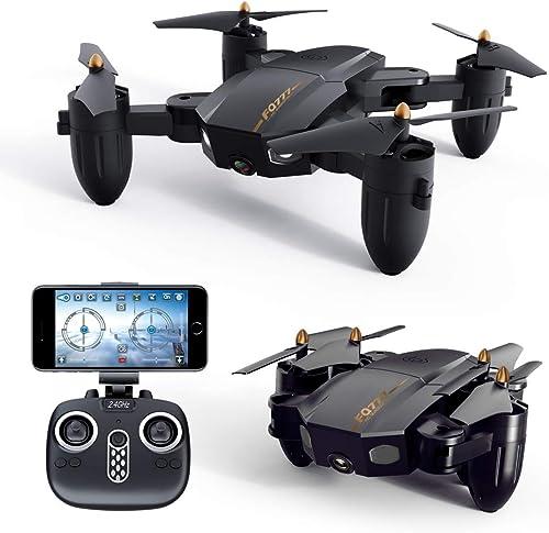 Drone WiFi FPV Rabattable, Appareil Photo 300 000 Pixels, Quadricoptère Télécomhommedé avec Lumières LED, Mode sans Tête, Flip 3D, Cadeau Ludique avec Retour d'un Aéronef à Un Bouton, Noir