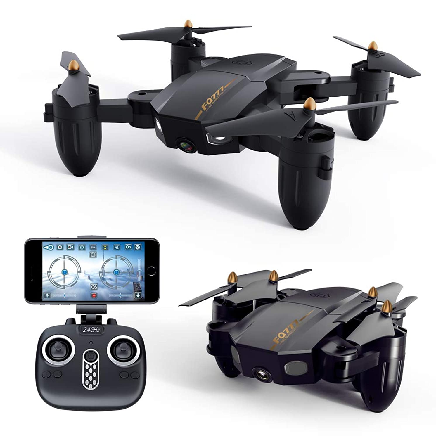 Folding WiFi FPV Drone, 2 Megapixel Camera, Remote Quadcopter with Led Lights, Headless Mode, 3D Flip, One Button Return Aircraft Fun Gift, Black