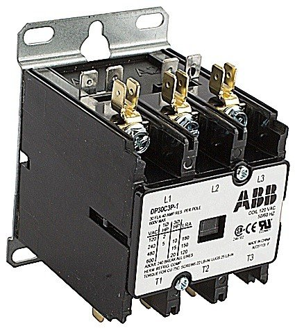 ABB, DP30C3P-4, 3 Pole, 30 Amps, 480VAC Coil, Definite Purpose Contactor