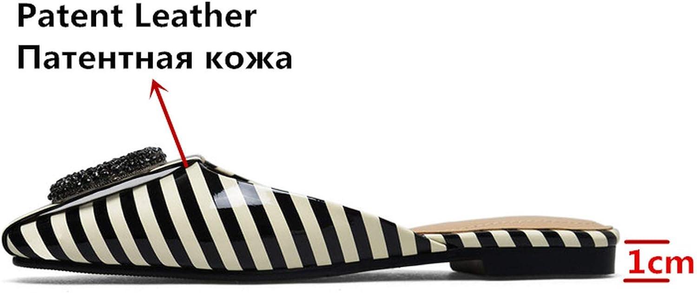 Milk Maniac Women Patent Leather Sandals Square Heel Fashion Summer Slip-On Slippers Lady Sandals