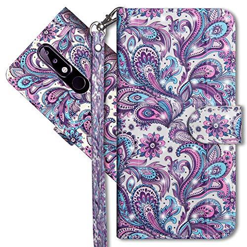MRSTER Nokia 5.1 Plus Handytasche, Leder Schutzhülle Brieftasche Hülle Flip Hülle 3D Muster Cover mit Kartenfach Magnet Tasche Handyhüllen für Nokia 5.1 Plus 2018. YX 3D - Peacock Flower