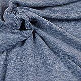 Fleece Stoff von Hilco in Blau Melange als Meterware zum